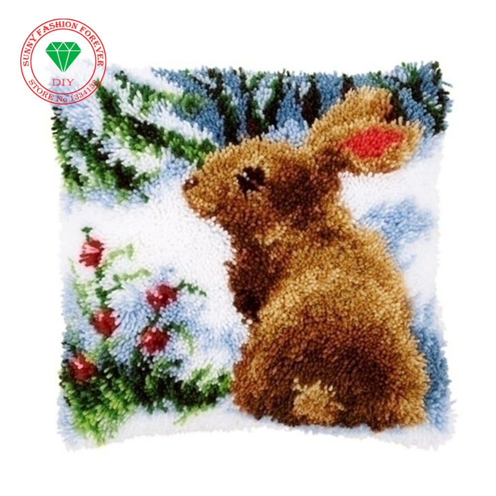 Embroidery Rabbit DIY Latch Hook Rug Kits Unfinished Crocheting 3D Yarn Needlework Cushion Set for Embroidery