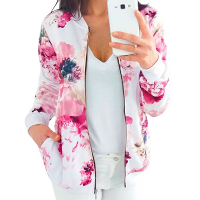 New Sexy Women Floral Coat Casual Zipper Jacket Tops Women Coats And Jackets Outerwear Womens Jackets 2018 Fashion Ladies Coats