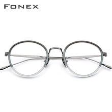 FONEX Pure B Titanium Optical Women Glasses Frame Vintage Round Prescription Eyeglasses Men Myopia Spectacles Korean Eyewear 853