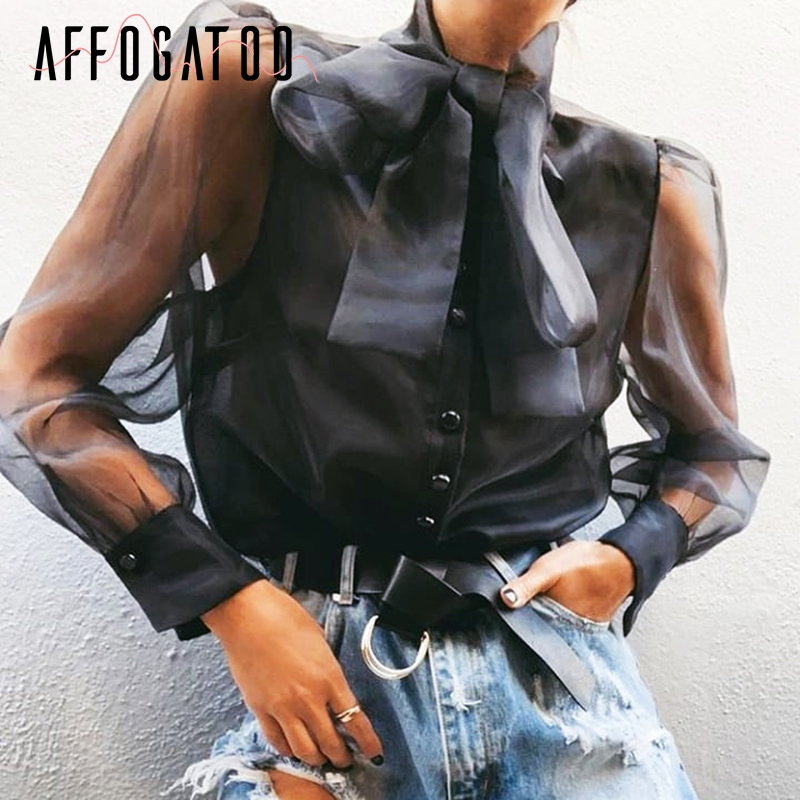 Affogatoo Sexy fashion mesh women   blouse     shirt   Casual through   blouse   top female Elegant Turtle neck buttons femme black top 2019