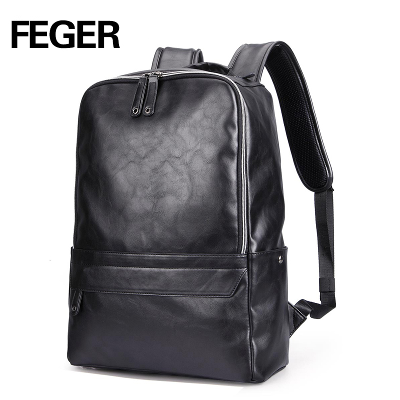 FEGER New Arrival PU Leather men Backpack Fashion High Quality Famous Brand Preppy Style boy School Bag Travel Bag 9016 fashion 2017 pu leather backpack for men famous brand travel backpack bag men students shoulder bag daypack bookbags bp00075
