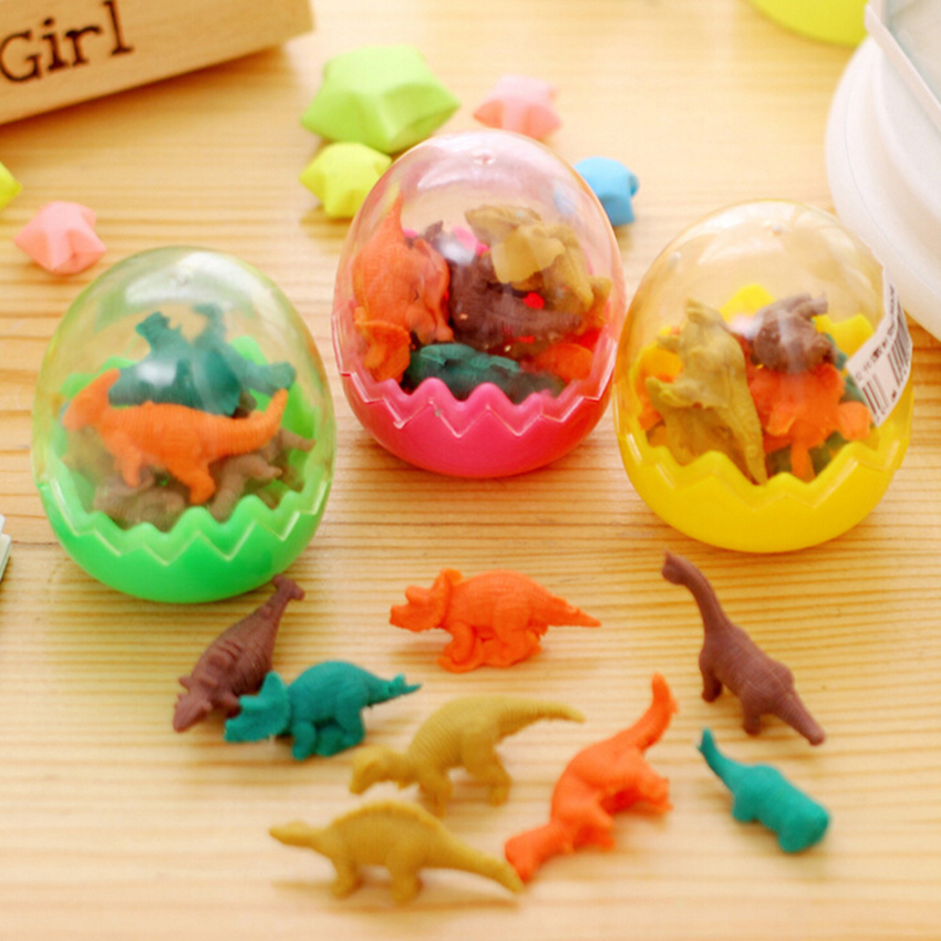 7pcs/ 1 Egg Cute Rubber Dinosaur Drawing Toys Eraser Kawaii Design Children Educational Toys Painting Tools