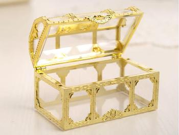 100pcs Free shipping top grade golden silvery transparent plastic treasure chest wedding candy box gift boxes SN276