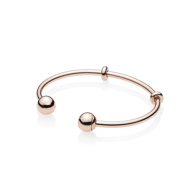 LJP Unique Design Hot Sale Rose Golden Color Open Bangle, Original Logo Cap Bangle & Bracelet Fashion Jewelry For Women Men stylish golden hollow rounded rectangle hasp bracelet for women