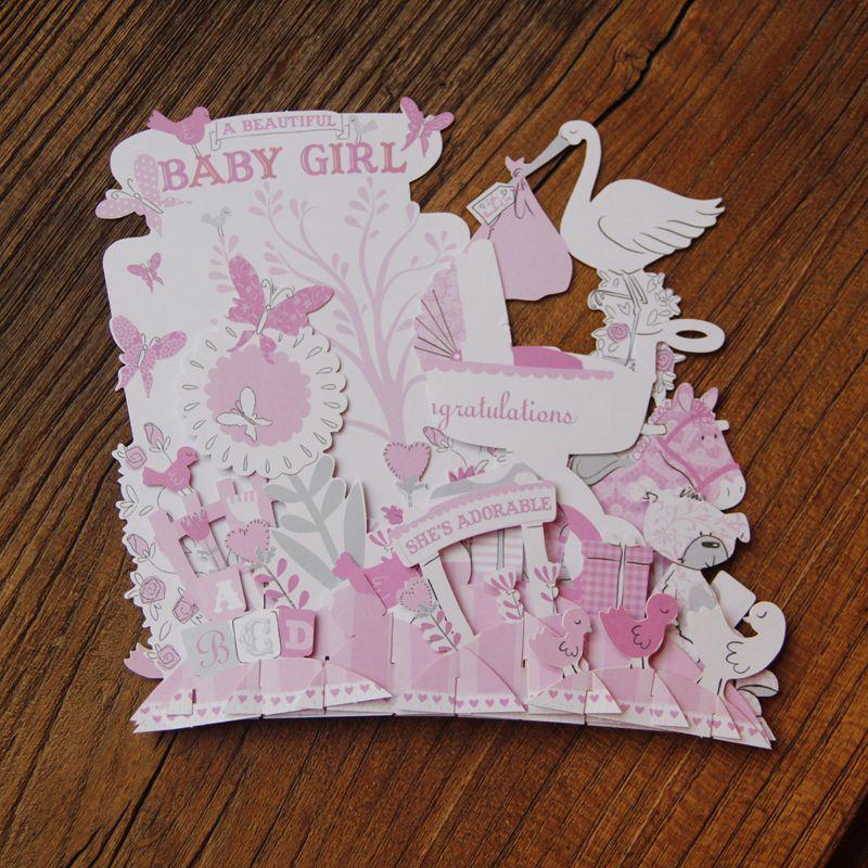 Aliexpress Buy Pink Baby Shower Babygirl Birthday Party 3D – Birthday Cards in Bulk