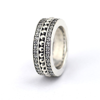 Clear CZ Wide Classic Silver Rings for Women & Men Forever Sign 925 Sterling Silver Jewelry Signature Engraved Charm Ring