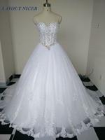 Real Image New Arrival Ball Gown Lace Wedding Dresses 2017 Fashionable Bridal Gown Romantic Vestido De