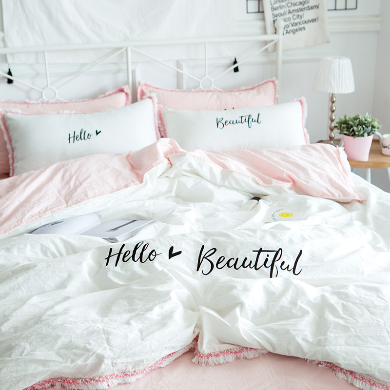 Cilected Hello Beautiful Embroidery Bedding Set 100 Cotton White Pink 4pcs Duvet Cover Flat Sheet Pillow Cases Princess Gift In Sets From Home
