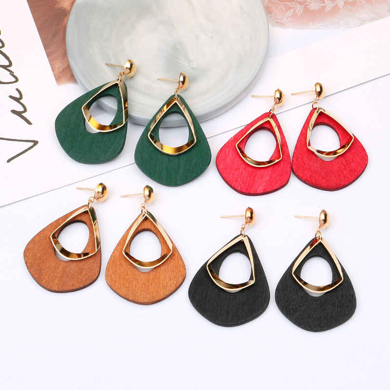 Trend Wood Earrings Retro Geometric Drop Long Paragraph Pendant Exaggerated Wedding Bride Ear Jewelry