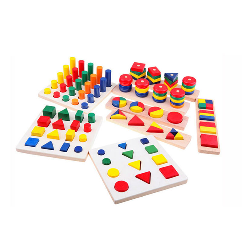 Hot Sale Intellectual Geometry Toys for Children Montessori Early Educational Building Wooden Block Interesting Kids Toys hot sale ir educational interactive digital whiteboard
