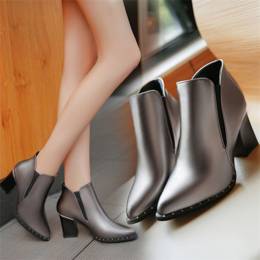 Women's Boots Shoes Martin Boots, artificial PU Rubber female pointed thick heel high heel keep warm Girl Woman Autumn Winter