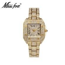 2019 new fashion luxury quartz alloy square jewelry buckle European fashion inlaid diamond full watch female