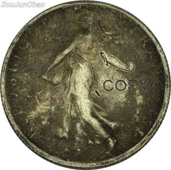 France Coins 1914 Figure Sowing Seed Leafy Branch Divides Date And Denomination Louis Oscar Roty Brass Silver Plated Can Custom image