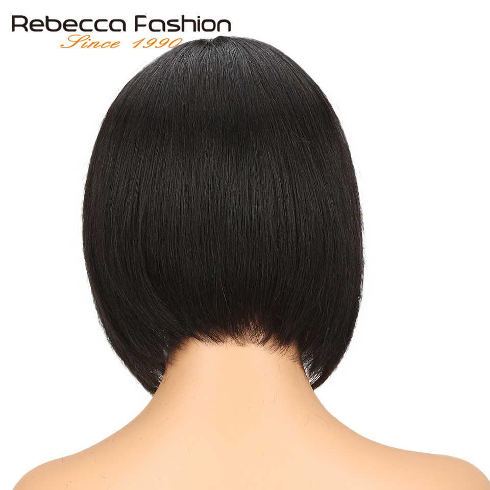 ريبيكا 8 بوصة قصيرة بوب الشعر البشري الدانتيل الباروكات للنساء السود الجزء الأوسط بيرو ريمي مستقيم الشعر الدانتيل الباروكة الأسود الطبيعي