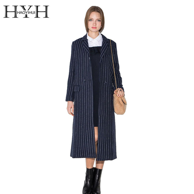 HYH HAOYIHUI Autumn Women Coat Elegant OL Vintage Striped Female Overcoat Outerwear Casual Long Sleeve Basic Slim Trench Coat