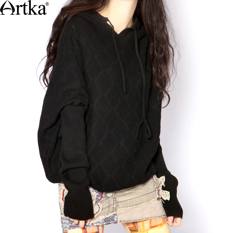 ARTKA Women s Classic All match 2 Colors Hoodie Vintage Batwing Sleeve Comfy Knitwear Y010355Q