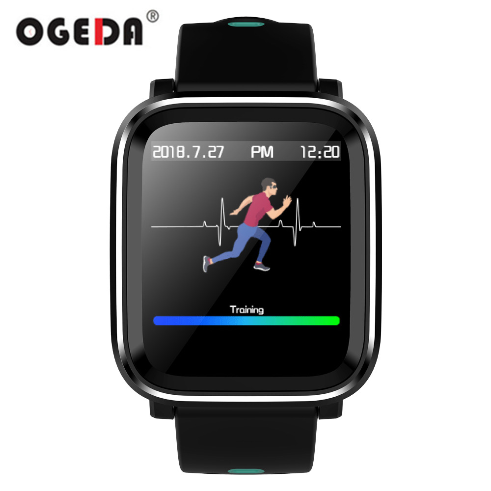 OGEDA Men Smart Watch Q58 Heart Rate Monitoring Sphygmomanometer Step Smart Clock Bluetooth Waterproof Sports Watch цена