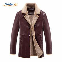 Мужская кожаная куртка covrlge зимняя утепленная с бархатным