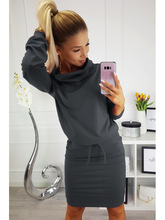 2019 Casual Turtleneck Long Sleeve Autumn Dress Fashion Robe Femme Women Bodycon Bandage Clothing Fall