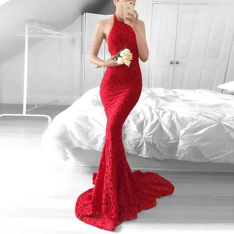sexy red evening gown dress Mermaid prom lace Long Evening Dresses Slim fit party Dress