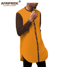 2019 african spring fashion mens casual shirt AFRIPRIDE bazin richi full sleeve single breasted cotton for men A1912001