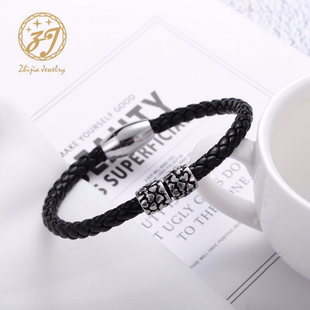 Zhijia Fashion Hearts black Punk Rubber Silicone Stainless Steel Men Woman Bracelets Bangles pulseras hombre caucho in Charm Bracelets from Jewelry Accessories