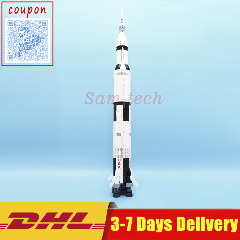 Lepin 37003 1969Pcs Creative Series The Apollo Saturn V Launch Vehicle Set Children Educational Building Blocks Bricks Toy 21309 the new hot promotions 1 30 military vehicles dongfeng 11a missile launch vehicle model alloy office decoration