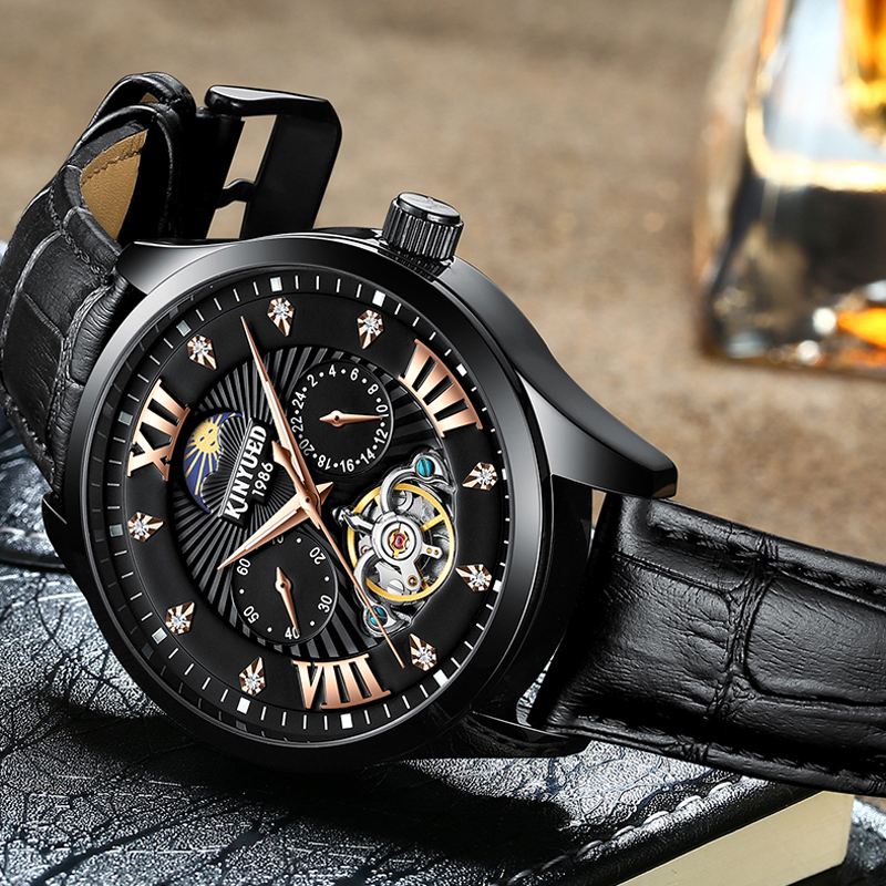 KINYUED Mens Watches Luxury Brands Mechanical Watch Mens Sports Waterproof Full Steel Business leather Watch Relogio MasculinoKINYUED Mens Watches Luxury Brands Mechanical Watch Mens Sports Waterproof Full Steel Business leather Watch Relogio Masculino