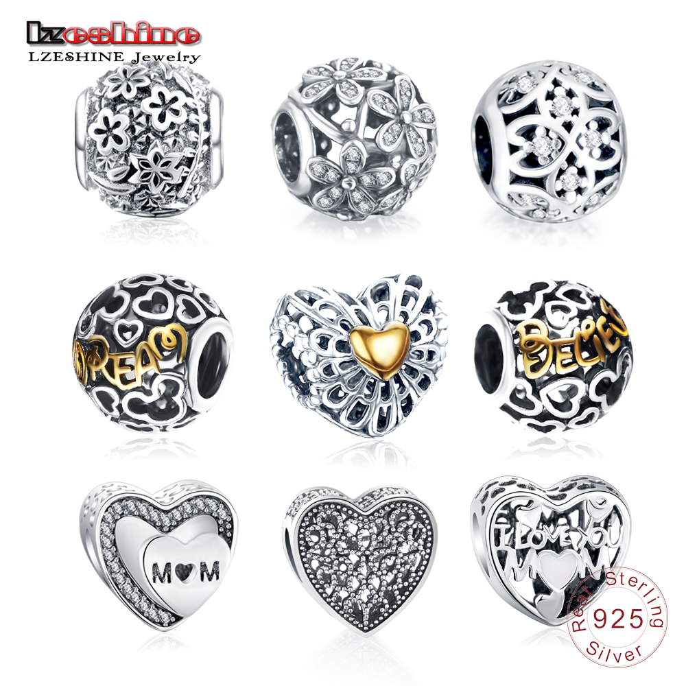 LZESHINE Trendy Authentic 925 Sterling Silver Love Heart Zircon Charms Fit Original Pandora Charms Bracelet Women Jewelry