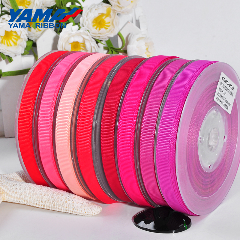 YAMA 6 9 13 16 19 22 Mm 100 Yards/lot Grosgrain Ribbon Red Pink Wholesale For Diy Dress Accessory House Wedding Decoration