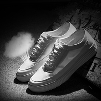 Skateboarding Shoes Summer Men British Wild Shoes Korean Trend White Leather Shoes For Men Breathable Mesh Shoes Man Sports