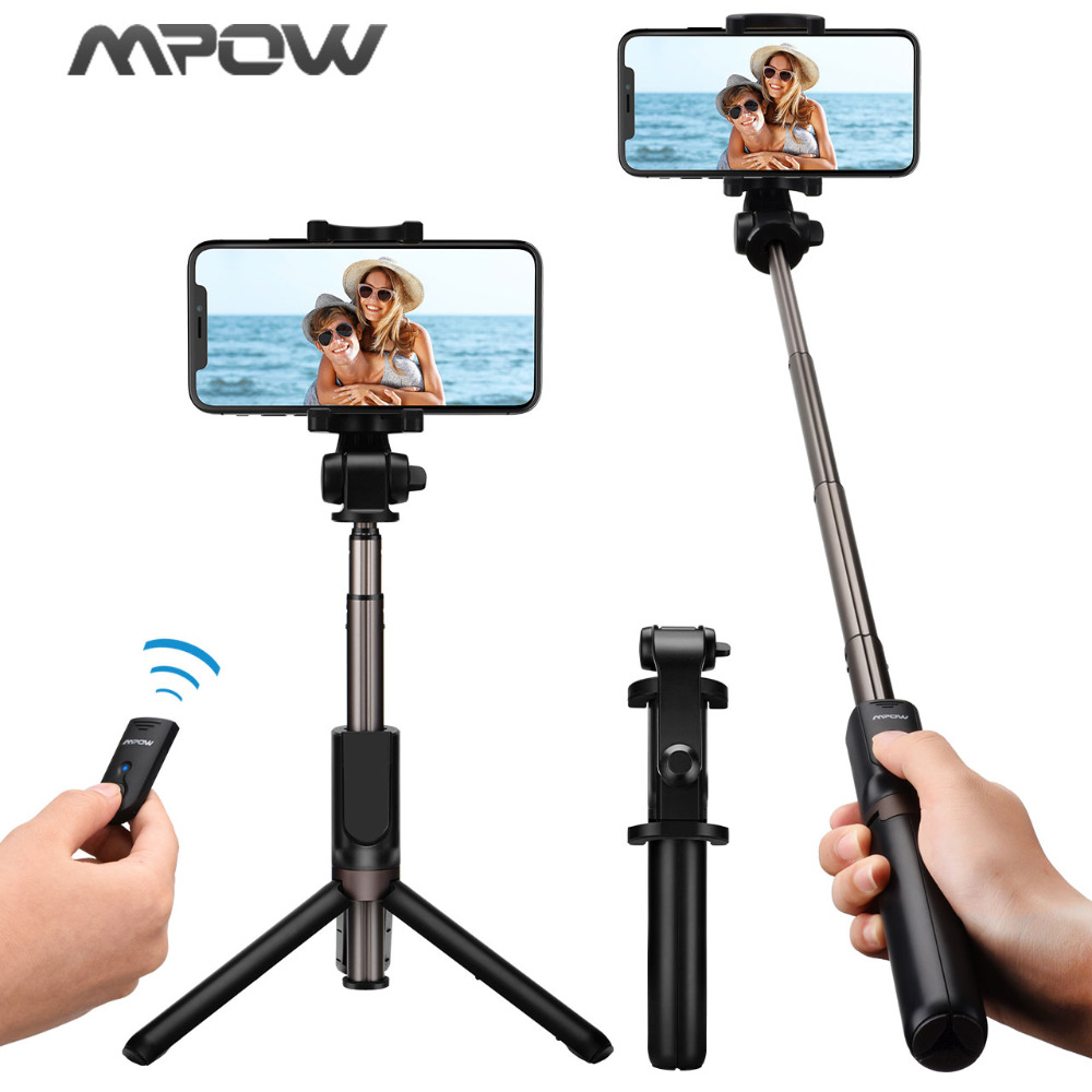 Mpow 3 in 1 Selfie Stick Bluetooth Remote Control+Monopod+Tripod 360 Degree Rotation Phone Holder For iPhone X 8 7 Samsung HTC retractable selfie monopod w holders for samsung htc iphone more green