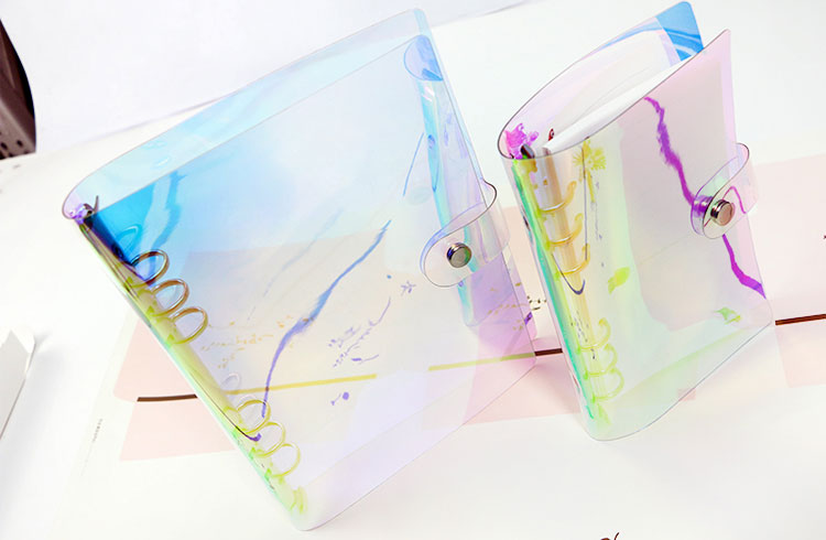 Transparent laser binder PVC multifunctional hand book travel rainbow bright hand account clip shell a5 a6 laser fce teacher s book