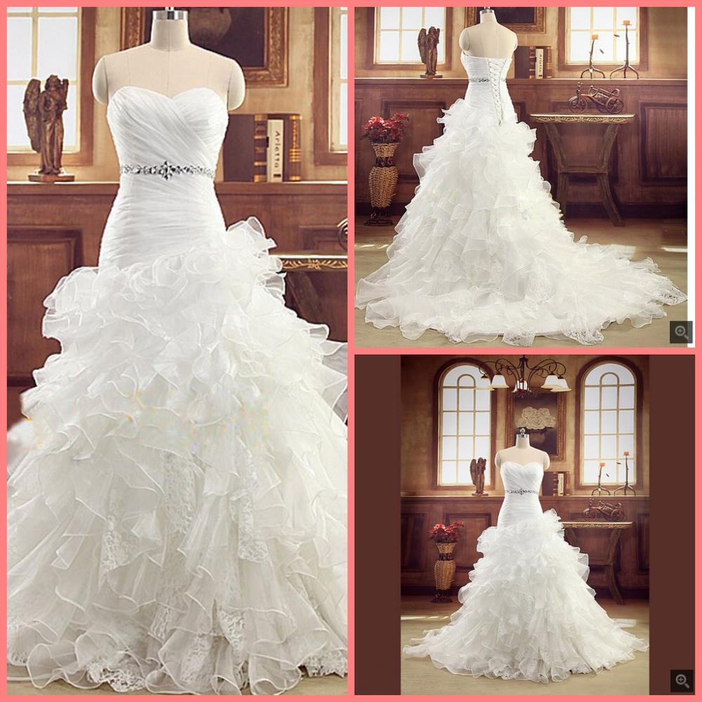Real Photo Strapless Organza Lace Mermaid Wedding Dresses 2019 Ruffles Crystal Corset China Bridal Gowns Wedding Dress Plus Size
