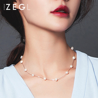 ZEGL925 sterling silver jewelry pearl necklace ladies clavicle chain short round neck chain