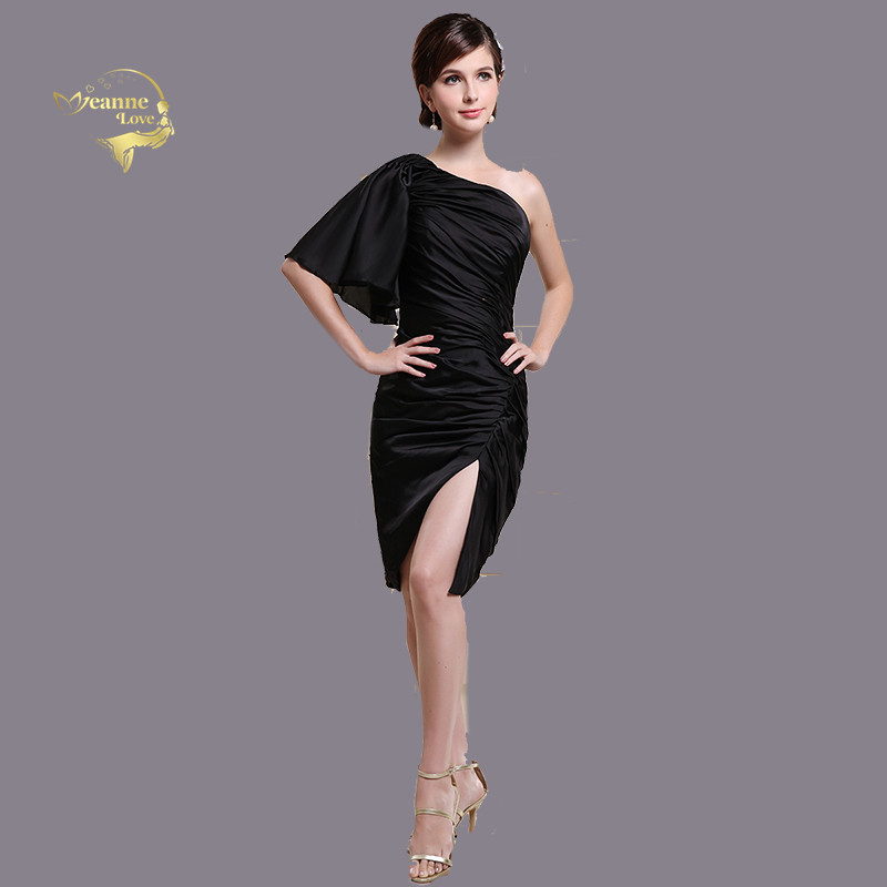 Black One Shoulder Flare/Trumpe Sleeves   Cocktail     Dresses   Sheath Sexy Split Skirt Women Party   Dresses   Prom   Dresses   Short   Dress