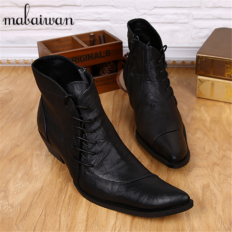 Fashion Genuine Leather Mens Ankle Boots Pointed Toe Lace Up Wedding Dress Shoes Safety Shoes Men Military Boots Mans Footwear brown men ankle boots spring autumn genuine leather cowboy boots pointed toe lace up mens military boots safety shoes footwear