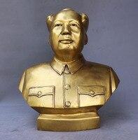 Рождество 12 Китай латунь известный strategist theorist лидер Мао Цзэ Дон глава скульптура бюста Свадебные украшения