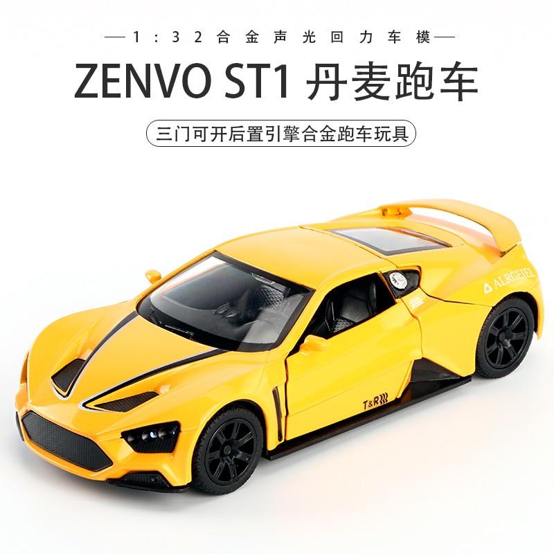 Zenvo ST1 1:32 coche de aleación de coche modelo de coche Diecast sonido ligero Super Racing coche de elevación de la cola de la rueda caliente para los niños Oferta 1:32 cargador de coche Diecast Metal modelo coche sonido y luz Pull-back Vehículo de juguete para niños y niños regalo 4 colores