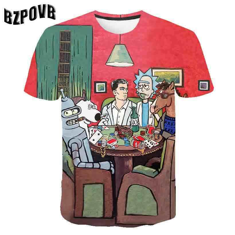 غالاكسي الفضاء و ريك 3D t قميص الرجال النساء بلايز الصيف أنيمي تيشيرت بأكمام قصيرة المحملات بلوزات مستديرة العنق Morty هبوط السفينة