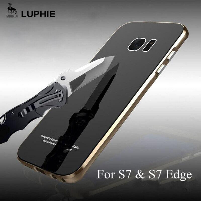 imágenes para Para Samsung Galaxy Caso Borde S7 Original Luphie metal marco con Vidrio templado contraportada Fundas Para Samsung S7 S7 Casos Extremos