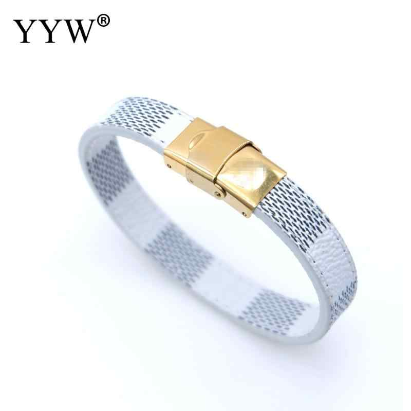 Винтажный браслет унисекс из нержавеющей стали с кожаными браслетами модные золотые ювелирные изделия в стиле панк подарок черные/белые/коричневые браслеты