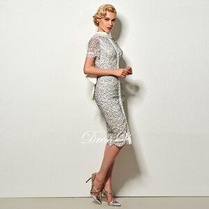 Image 3 - Dressv סקסי ללא משענת נדן קצר קוקטייל שמלת וינטג גבוה צוואר באורך הברך ערב מסיבת תחרה קוקטייל שמלה עם bowknot