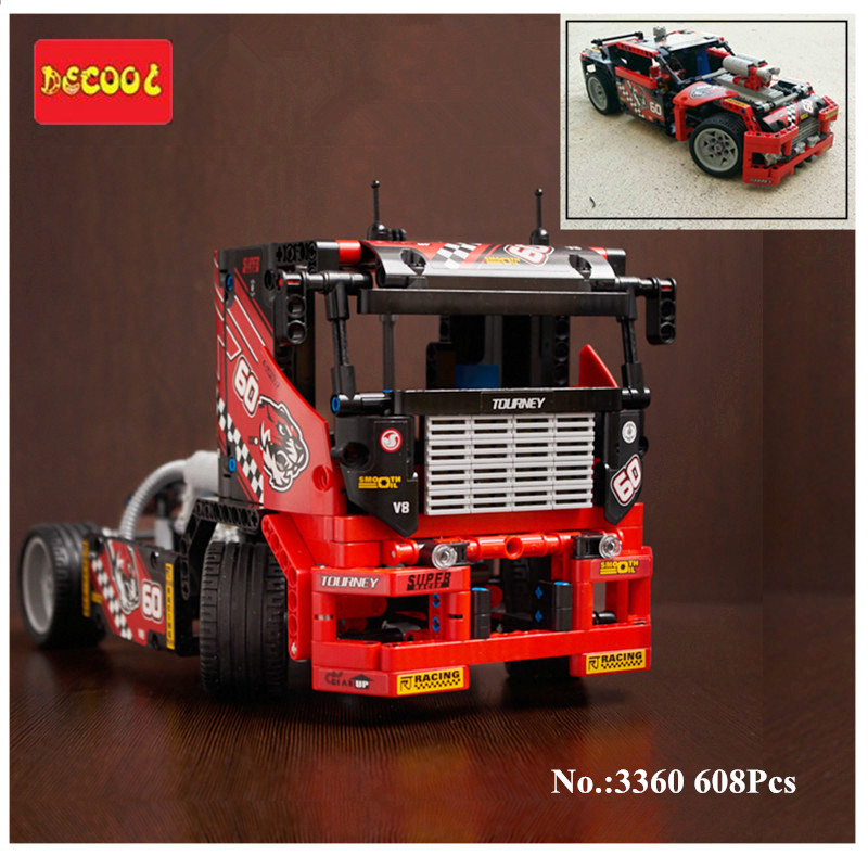 Free shipping 608pcs Race Truck font b Car b font 2 In 1 Transformable Model Building