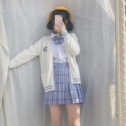 Japanese JK School Uniforms For Women White T-Shirt Embroideried Sailor Navy Skirt 5 pcs Suit Student Girls Class Set Female