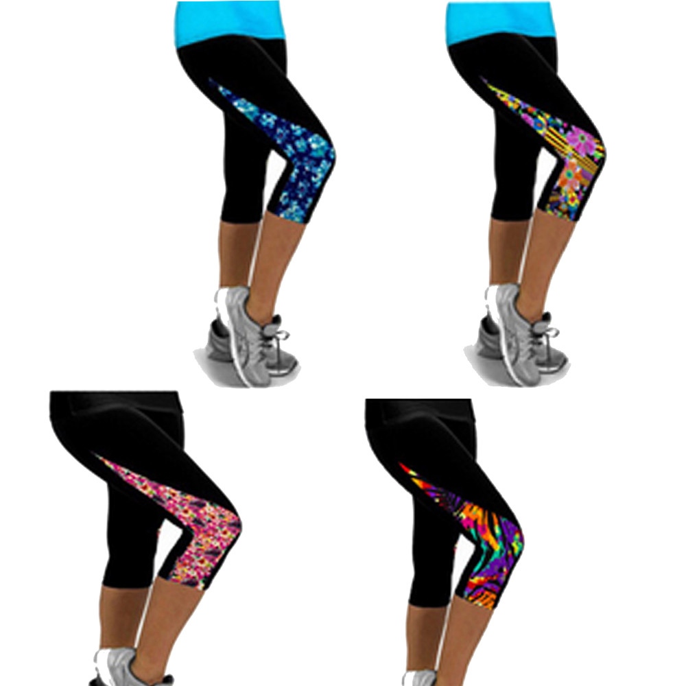 2018 New Women Fitness Yoga Sport Pants Side Printed Stretch Cropped Pants running 3/4 pants Trousers mallas mujer deportivas inc new navy blue women s size 16 gathered hem linen capri cropped pants $69