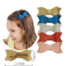 "2.5"" Teens Girl Kids Children Boutique Hairbow Hairpins Fashion Glitter Leather Bow Hair Clips Best Gift Hair Headwear(China)"