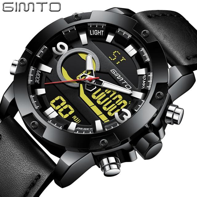 ec0ea4f4a59 GIMTO marca Sport hombres reloj de doble pantalla impermeable Digital  relojes de pulsera ocasional de cuero