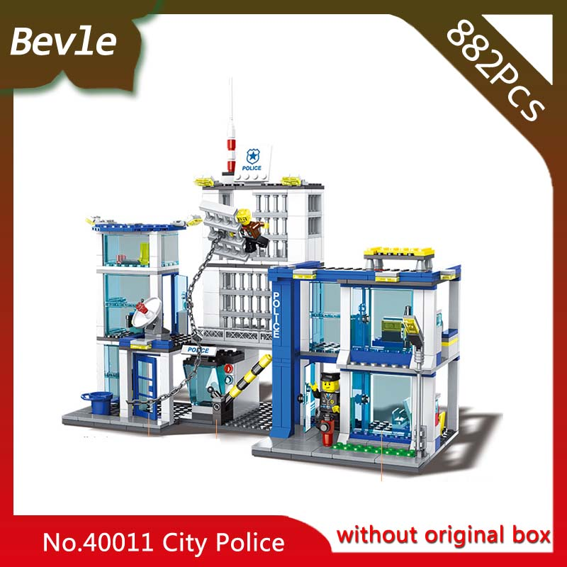 Bevle Store Lepin 40011 882Pcs CITY series Police headquarters Model Building Blocks Set Bricks Toys For Children wange hot sembo block compatible lepin architecture city building blocks led light bricks apple flagship store toys for children gift