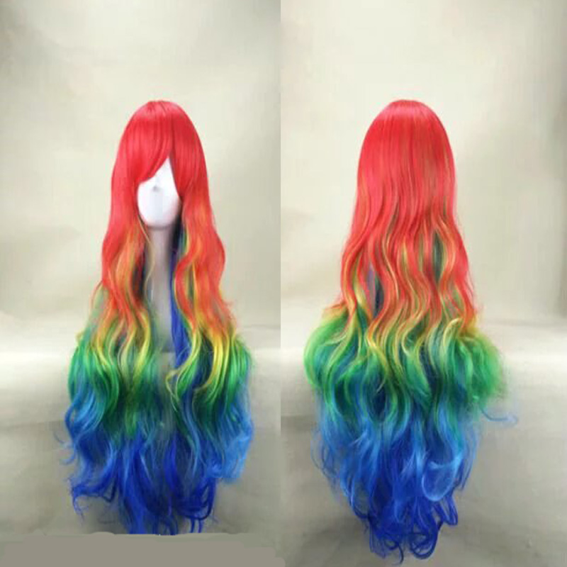 HAIRJOY Synthetic Hair Zipper 70cm Long Wavy Harajuku Lolita Cosplay Wig 18 Colors Available 100